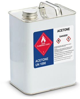 GHS labeled acetone container